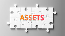 Assets Complex Like A Puzzle - Pictured As Word Assets On A Puzzle Pieces To Show That Assets Can Be Difficult And Needs Cooperating Pieces That Fit Together, 3d Illustration