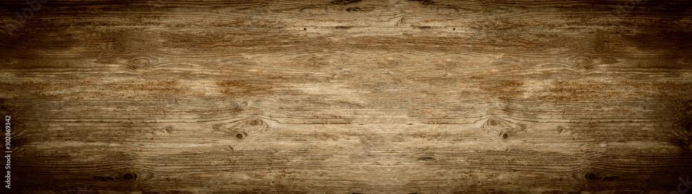 Fototapeta old brown rustic dark brown wooden texture - wood background panorama banner long