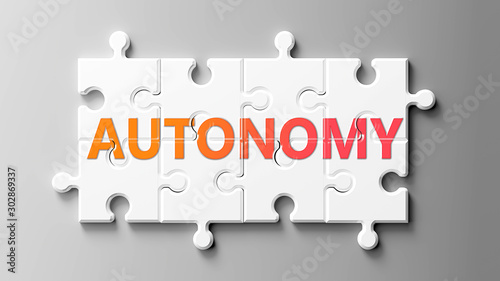 Autonomy complex like a puzzle - pictured as word Autonomy on a puzzle pieces to Wallpaper Mural