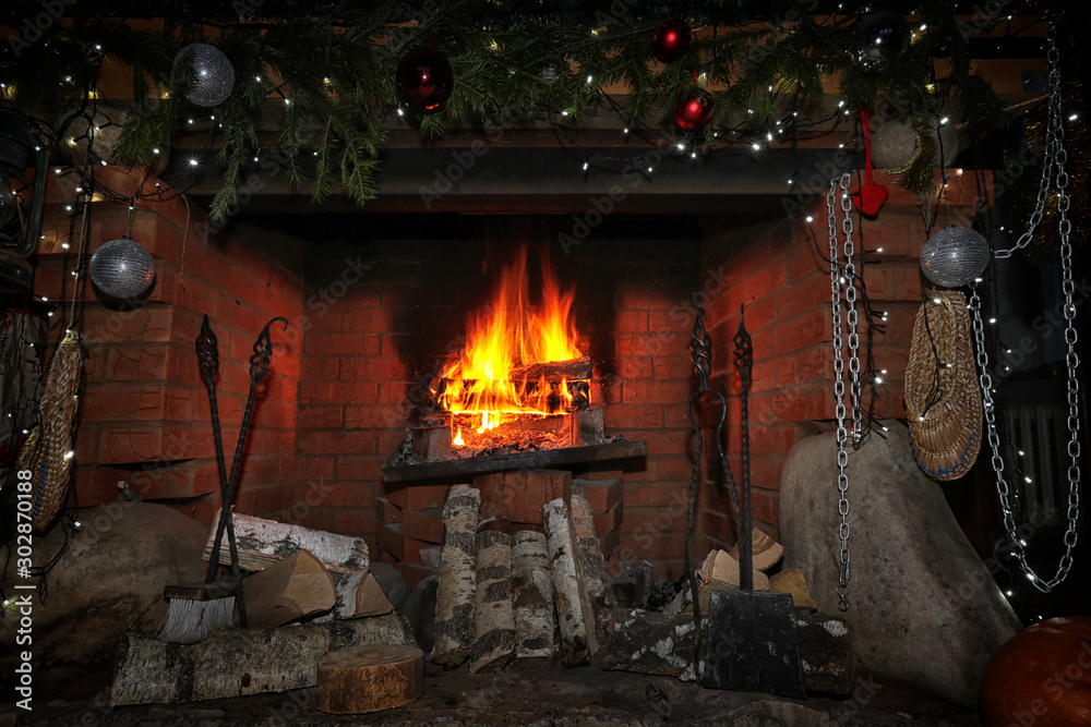 Fototapety, obrazy: decorated christmas fireplace at night