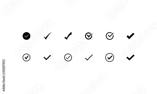 Fotografie, Obraz tick black vector icon circle curve sharp straight outline