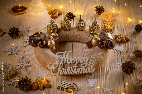 Holiday background with Advent wreath #302872551