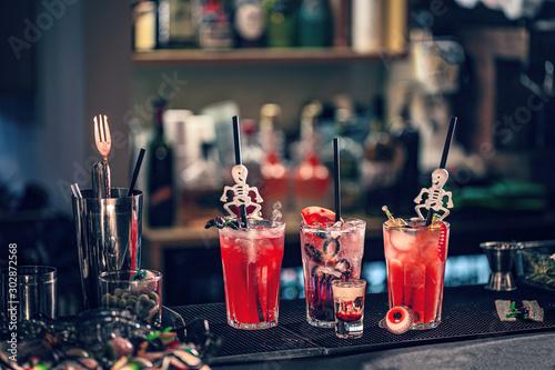 Halloween cocktails with halloween decor #302872568