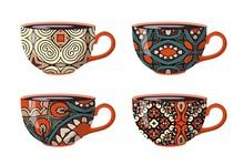 Teacups With Decorative Ethnic...