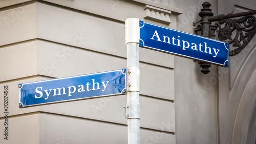 Photo  Street Sign to Sympathy versus Antipathy