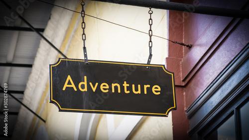 Street Sign to Adventure Wallpaper Mural