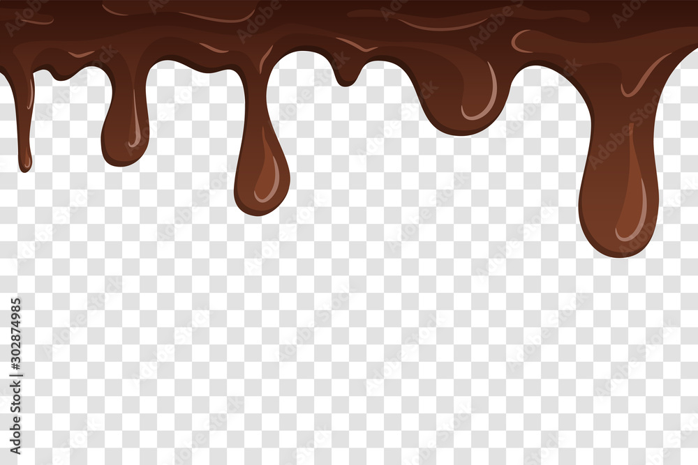 Fototapety, obrazy: Dripping chocolate. Drips chocolate, isolated white transparent background. Melt fluid sweet dessert. Tasty splash liquid, cartoon design. Brown delicious cream. Flowing trickle. Vector illustration