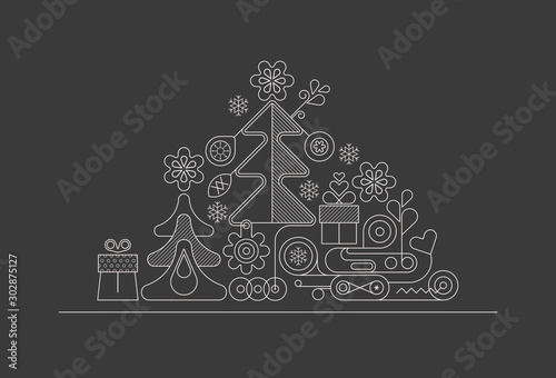 Christmas Tree line art vector illustration
