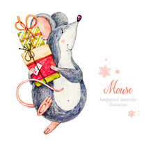 Mouse. Mouse With Gifts. Cute Kind Childish Character. Gift Boxes. The Symbol Of The Chinese New Year 2020. Watercolor Illustration Of A Little Mouse. Watercolor Botanical Hand Drawn Illustration.