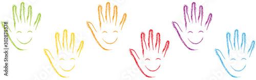 Fotografie, Tablou  Viele Hände, Gesichter, Lachen, Kinder, Hintergrund