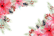 Watercolor Christmas Wreath Wi...