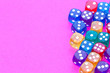 canvas print picture - colorful dices on pink background