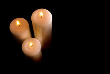 Three Burning Candles Isolated...