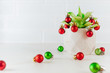 canvas print picture - Succulent plant decorated with Christmas red and green balls