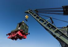 Powerful Rail Crane Raises The...