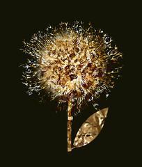 Fototapeta Vintage Gold flowers seamless pattern
