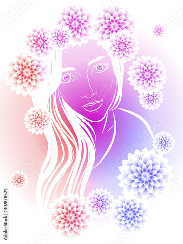 Fototapety, obrazy: delicate illustration of a cute girl with long hair decorated with chrysanthemum flowers