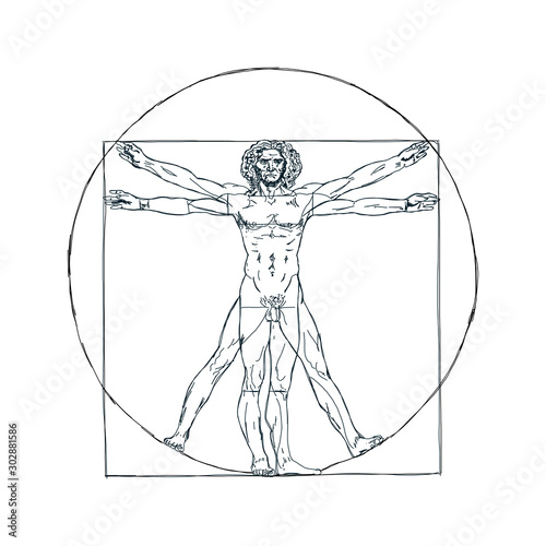 The Vitruvian man, Leonardo's man. Detailed drawing ink Canvas
