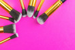 canvas print picture - Cosmetics brushes. Drawing products for skin with copy space. Be