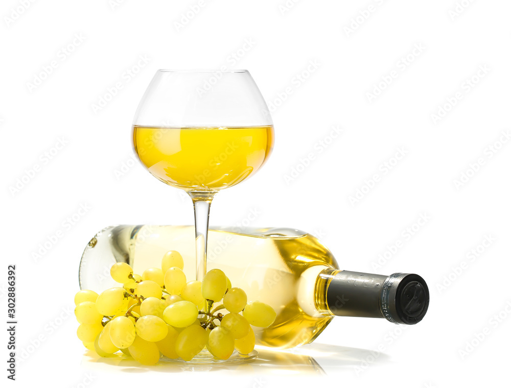Fototapety, obrazy: Bottle and glass of wine on white background