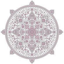 Vintage Mandala Motif On White Background