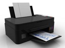 3d Illustration Generic Inkjet Printer CMYK Cartridges