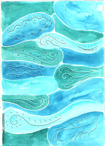 watercolor background with the image of sea waves with black and white patterns - 302891945