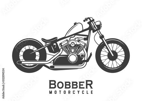 Fotografie, Obraz Motorcycle. Bobber. Custom bike. Vector illustration