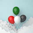 Independence day design creative concept for United Arab Emirates UAE, Kuwait, Palestine, Jordan, Sudan. Flying balloon red, white, green, black color cloud background studio lighting. 3D rendering.
