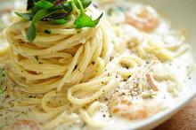 Seafood And Cream Sauce Spaghetti