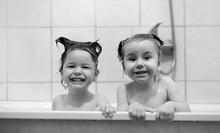 Young Children Take A Bath. Ch...