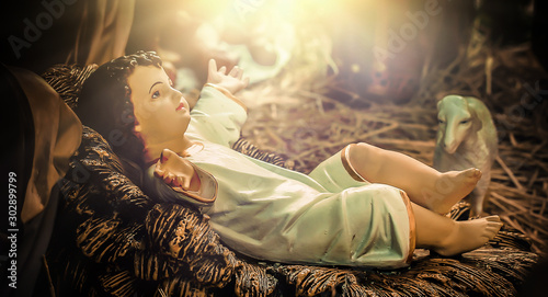 Obraz A Christmas nativity scene, with baby Jesus - fototapety do salonu