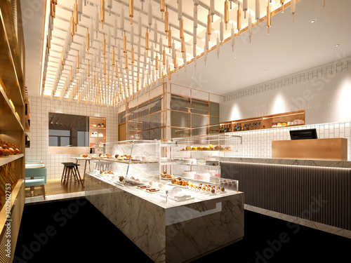 Fotografie, Tablou  3d render of cafe patisserie interior