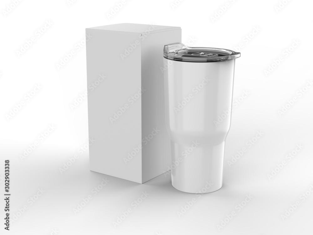 Fototapeta Blank Stainless Steel Tumbler with Lid And Hard Box For branding mock up. 3d render illustration.