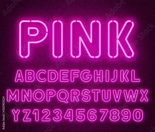 Cuadros en Lienzo  Neon rounded pink font, glowing alphabet with numbers