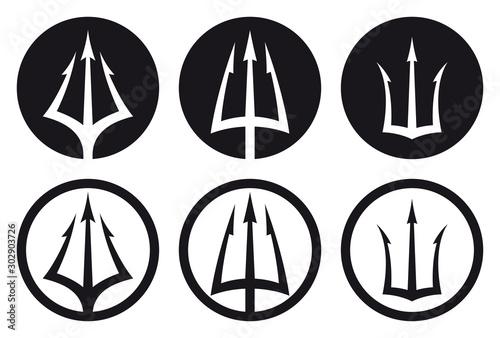 Vector black logo set of trident in circle Triton, Neptune, Poseidon Wallpaper Mural