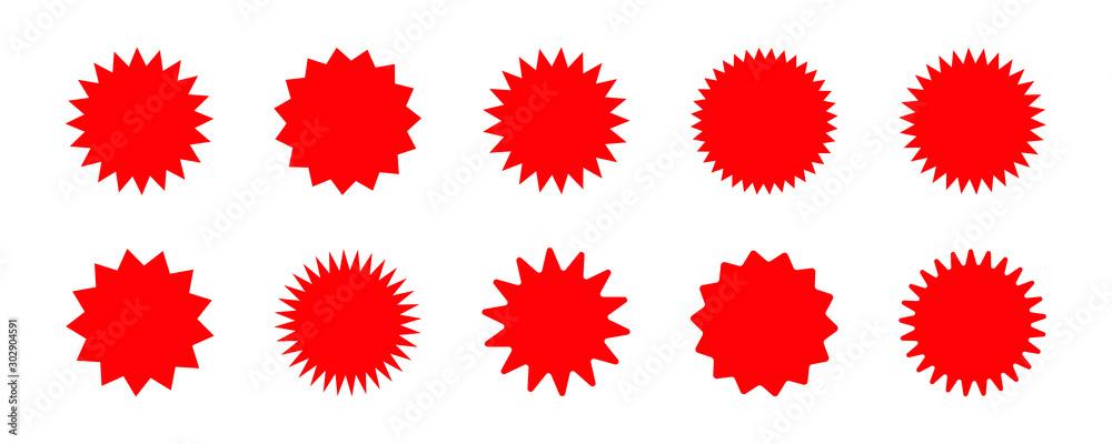 Fototapeta Set of vector red starburst, sunburst badges. Red icons on white background. Simple flat style vintage labels, stickers.