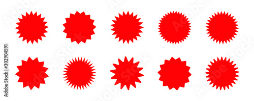 Set of vector red starburst, sunburst badges. Red icons on white background. Simple flat style vintage labels, stickers.