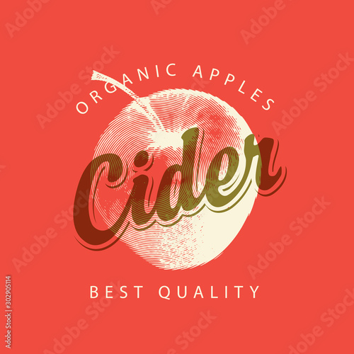 Canvas Print Vector label for Apple cider with a realistic image of an apple and calligraphic