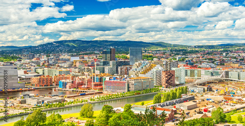 Beautiful cityscape of Oslo on a summer day, Norway Wallpaper Mural