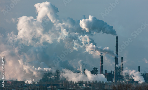 Smoke from the pipes of a metallurgical plant