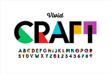 Modern Vivid Color Style Font, Vibtant Alphabet, Letters And Numbers
