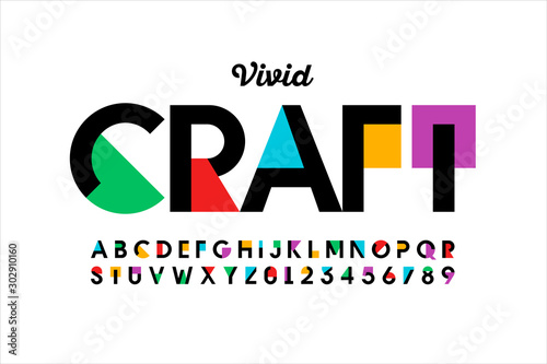 Obraz Modern vivid color style font, vibtant alphabet, letters and numbers - fototapety do salonu
