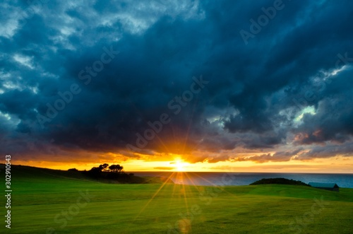 Obraz Beautiful shot of a grassy field near the sea with the sun shining in a cloudy sky in background - fototapety do salonu