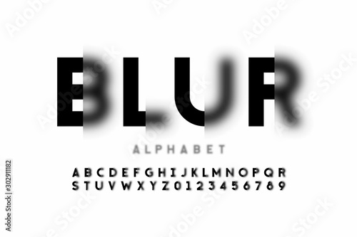 Photo Blurry style font design, alphabet letters and numbers