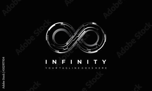 Obraz Abstract infinity logo, endless technology symbol and icon vector - fototapety do salonu