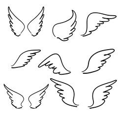 doodle rukom nacrtana Skica anđeoskih krila. Krilo anđeoskog pera, silueta tetovaže ptica. Linearni anđeli s krilatim muhama, leteće nebeske crtane vektorske ikone