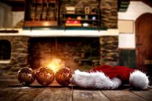Wooden Retro Table With Santa ...
