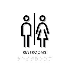 Toilet Sign Restrooms Sign Door Blind People Door Stiker Restroom Men Woman Vector 19
