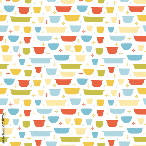 Tapeta do kuchni  retro-geometric-kitchen-utensil-pattern-seamless-vector-background-colorful-vintage-kitchen-bowl-on-white-backgroud-for-fabric-wallpaper-packaging-decorative-print-vintage-kitchen-background